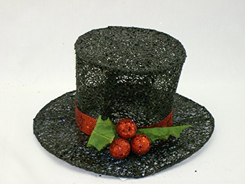 Black Glittered Sequined Snowman Derby with Oversize Glittered Holly Leaves and Berry Red Band Decoration (Black Top Hat For Snowman)