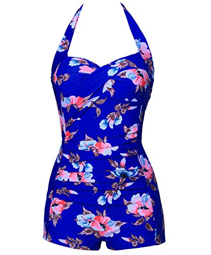 Saslax Elegant Floral Retro Inspired Boy-leg One Piece Ruched Maillot Swimsuit (2XL=US10-12, Blue)