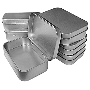Hulless 3.75×2.45×0.8 Inch (6pcs) Metal Hinged Top Tin Box Containers,Mini Portable Small Storage containers Kit,Tin Box Containers,Small tins with lids,Craft containers,Tin Empty Boxes,Home Storage.
