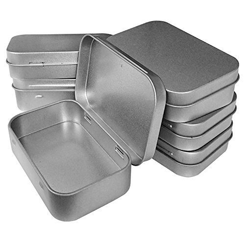 Hulless 3.75x2.45x0.8 Inch (6pcs) Metal Hinged Top Tin Box Containers,Mini Portable small storage containers Kit,Tin Box Containers,small tins with lids,craft containers,Tin empty boxes,Home Storage. - Silver Plated Lid