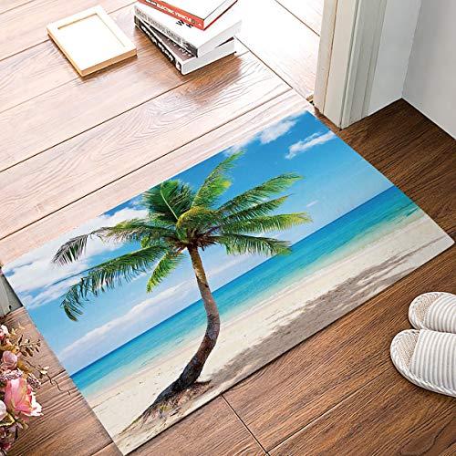OneHoney Beauty Seascape Coconut Tree,Entrance Rug Floor Mats Home Welcome Shoe Scraper Doormat 20 x 31.5 inch