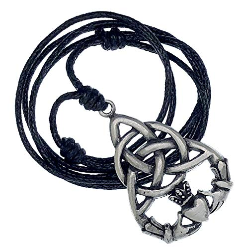 Ohdeal4U Irish Celtic Triquetra Claddagh Heart Pagan Silver Pewter Pendant Necklace Charm Amulet (Black Adjustable Cord)