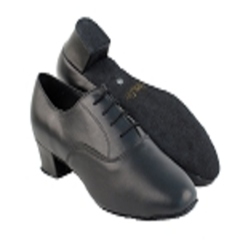 Very Fine Boys Black Leather Latin Dance Shoes in Size 2 with 1.5 inch heel