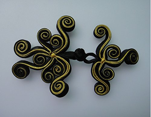 Lyracces Butterfly Swirl Twirl Sewing Fasteners Chinese Knot Closure Frog Buttons 6pairs 10cm 3.9in (Black with Golden)