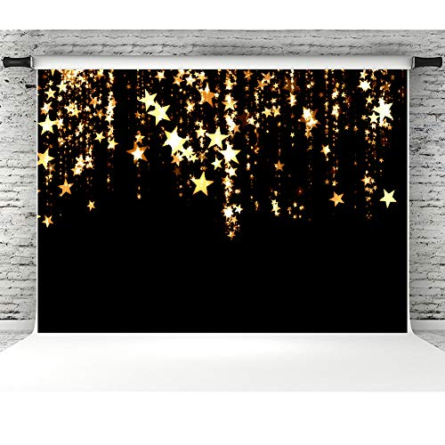 Gold Stars Backdrops for Photographers 7x5ft Vinyl Flashing Galaxy Photo Background Studio Props Baby Birthday Party Banner -