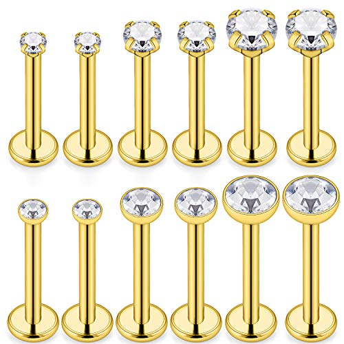 - SCERRING 6 Pairs 14G Stainless Steel 2mm 3mm 4mm Clear CZ Internally Threaded Labret Monroe Lip Tragus Daith Cartilage Helix Earring Ring Body Piercing Jewelry 8mm - Gold