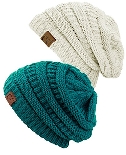 Teal Knit Hat - C.C Trendy Warm Chunky Soft Stretch Cable Knit Beanie Skully, 2 Pack Teal/Ivory