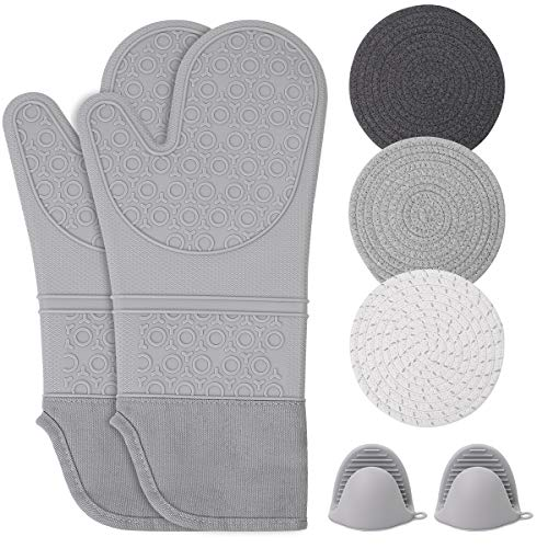 Oven Mitts and Pot Holders Sets Heat Resistant Silicone Oven Mittens with Mini Oven Gloves and Hot Pads Potholders