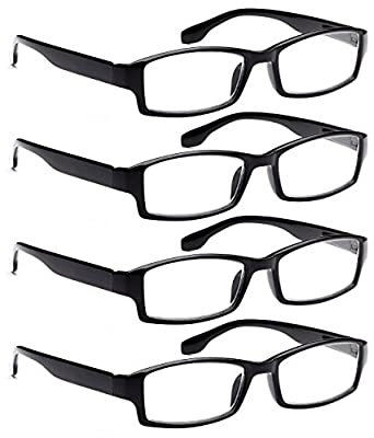 AV 4 Pack Spring Hinge Black Frame Readers Reading Glasses for Men and Women - Choose Youre Magnification