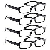 AV 4 Pack Spring Hinge Black Frame Readers Reading Glasses for Men and Women - 1.75x