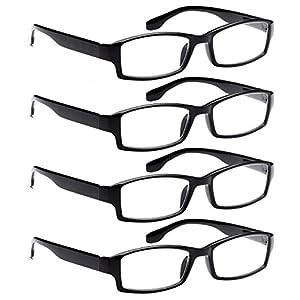 ALTEC VISION 4 Pack Spring Hinge Black Frame Readers Reading Glasses for Men and Women - 1.50x