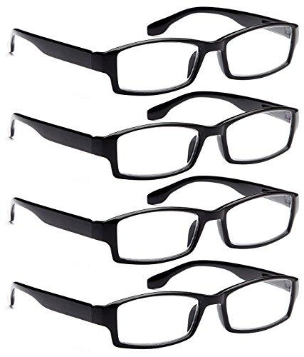 ALTEC VISION 4 Pack Spring Hinge Black Frame Readers Reading Glasses for Men and Women - 2.00x