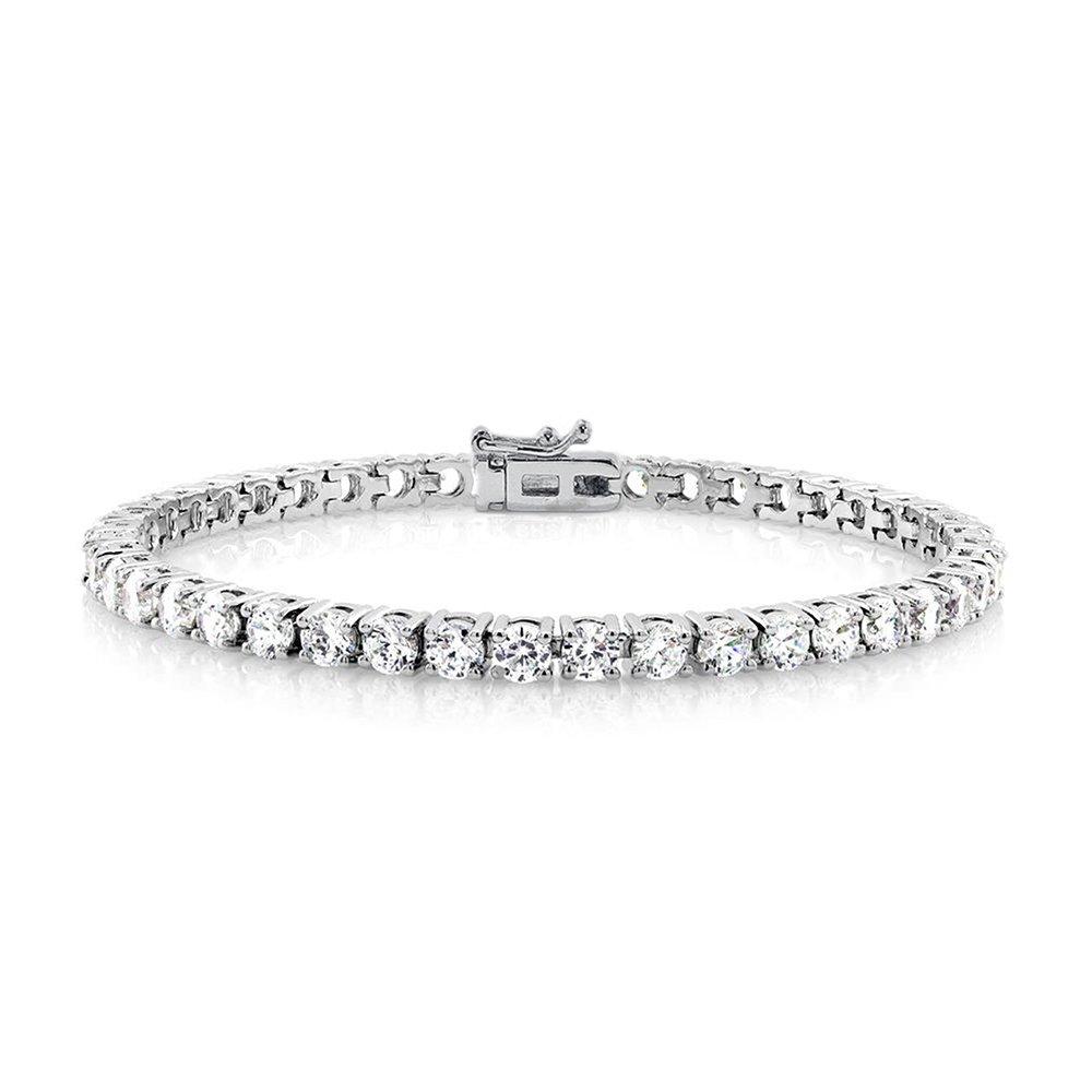 Cate & Chloe Kaylee 18k Tennis Bracelet, Women's 18k White Gold Plated Tennis Bracelet w/Cubic Zirconia Crystals, 7'' Sparkling Stone Bracelet for Women, Silver CZ Wrist Wrap Bracelets, MSRP - $170