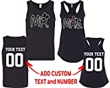 CRAZYDAISYWORLD New Mr and Mrs Pattern Customized Text Name Design Couple Tank Top Size Men XL Women M