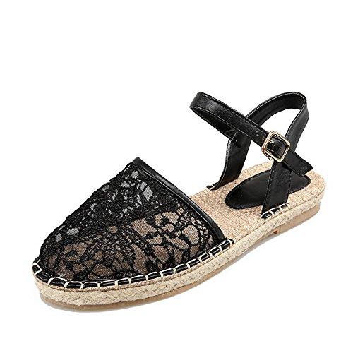 Allhqfashion Dames Gematteerde Dichte Teen Lage Hakken Gesp Stevige Sandalen Zwart