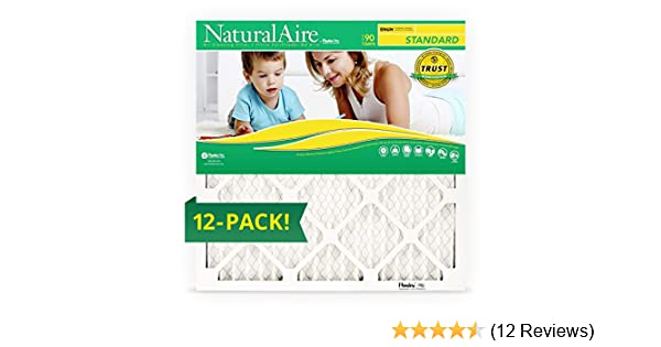 """Naturalaire 84858.011620 16/"""" X 20/"""" X 1/"""" Furnace Air Filters 12"""