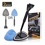 AutoEC Car Ice Scraper Windshield Cleaner Tool Combo - Detachable Snow Removal Scrape Ice Frost Anti-Scratch Window Glass Cleaner Wand with Foam Grip for Car Auto SUV Truck, 2 Coral Fleece Bonnets
