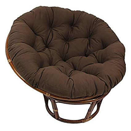 Rattan Papasan Chair With Tufted Foam Cushion   Modern Indoor Living Room  Accent Seat (Chocolate