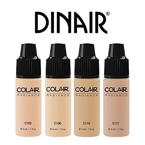 Dinair Airbrush Makeup Foundation | 4pc FAIR Shades Mini Set | Colair RADIANCE: Satin | Size 3ml (Airbrush Foundation)