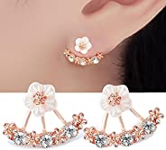 Happystore Jewelry Women Flower Fashion Earring Jackets Three Colors