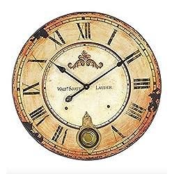 Vintage Walt Scott Lauder 23-Inch Diameter Wood Wall Clock With Pendulum