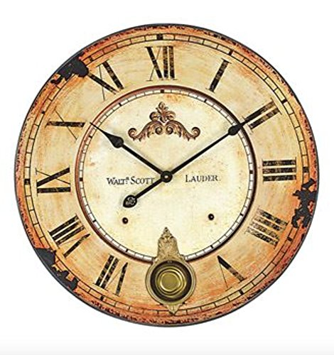 Vintage Walt Scott Lauder 23-Inch Diameter Wood Wall Clock With Pendulum