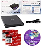 Pioneer 6x BDR-XD05B Ultra Lightweight External Blu-ray BDXL Burner, Cyberlink Software and USB Cable Bundle with 100pk CD-R RiDATA White Inkjet Printable