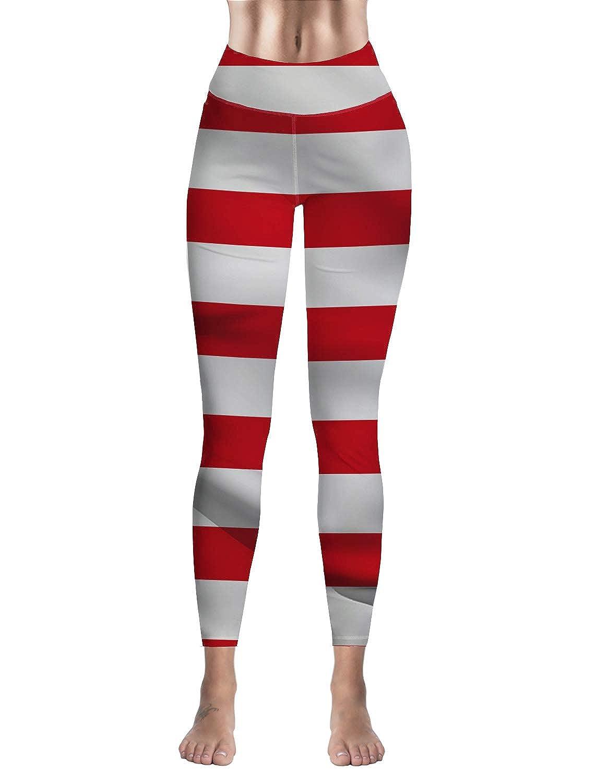 Women High Waisted Leggings for Sport Gym Happy Easter Day Rabbit American Flag