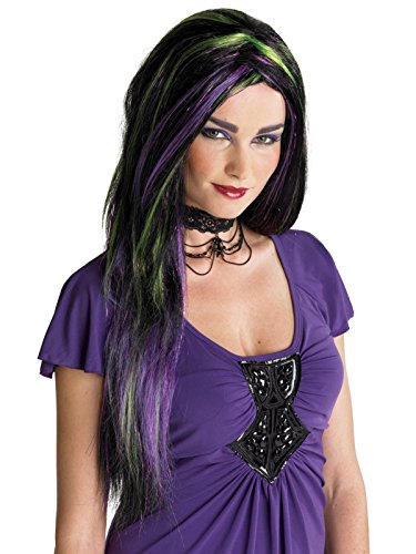 Long Black Wig with Bright Green and Purple Streaks Womens Witch Costume Wig