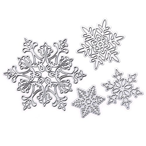 YOUNGFLY Durable Cutting Dies Beautiful Surface 4pcs Snowflake for DIY Card Making