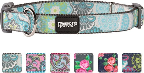 Friends Forever Dog Collar for Dogs, Fashion Print Paisley Pattern Cute Puppy Collar, Grey Large 18-26