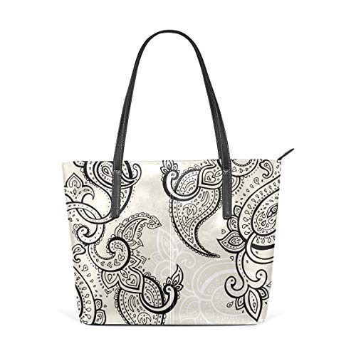 Paisley Grey Nation Women's PU Leather Tote Shoulder Bags Handbags Casual Bag ()