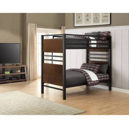 Better Homes and Gardens Mercer Twin Over Twin Metal Bunk Bed, Decorative Faux Wood Finish | Double Deck Bunk Bed Standard Twin Matresses (Faux)