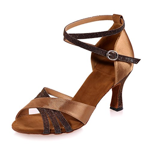 Shoes Brown Dancing High Leather Women YC Brown With L Multicolor Customizable Latin Heel RznTtqa