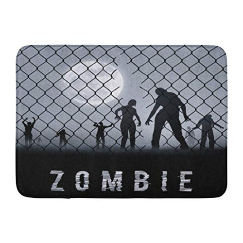 Emvency Doormats Bath Rugs Outdoor/Indoor Door Mat Cell Zombie Walking at Night Silhouettes for Halloween Dead Arrest Bathroom Decor Rug Bath Mat 16