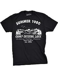 Mens Summer 1980 Funny Vintage Halloween Horror T shirt (Black) -M