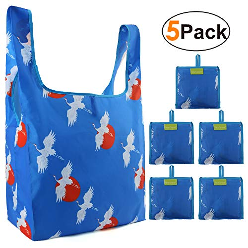 Birds Animal Grocery Shopping Bags with Little Pouch Foldable Heavy Duty Rip-stop Shopping Tote Large Capacity Machine Washable Bag Cute Red-crowned Crane Pattern (Blue)