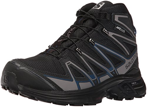 Salomon Men's X-Chase Mid CS Waterproof hiking Boot, Black/Black/Blue Depth, 12 D US Faster Mid Trail Shoes