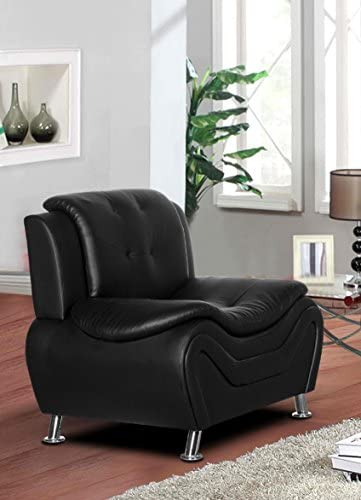 Container Furniture Direct Arul Leather Air Upholstered Mid Century Modern Sofa Chair Black