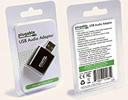 Plugable USB Audio Adapter with 3.5mm Speaker/Headphone and Microphone Jacks (Black Aluminum; C-Media HS 100B Chip; Built-In Compatibility with Windows, Mac, and Linux)