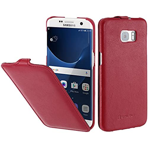 StilGut UltraSlim, Genuine Leather Case, Cover for Samsung Galaxy S7 edge, Red Nappa Sales