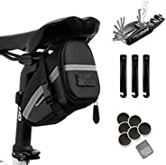 Hommie Bike Repair Tool Kits, 16-in-1 Bicycle Saddle Bag with Repair Set, Mechanic Portable Tyre Tools Set Bag