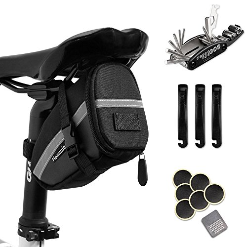 Hommie Bike Repair Tool Kits, 16-in-1 Bicycle Saddle Bag with Repair Set, Mechanic Portable Tyre Tools Set Bag with Reflective Strip (Best Mountain Bike Tyre Combination)