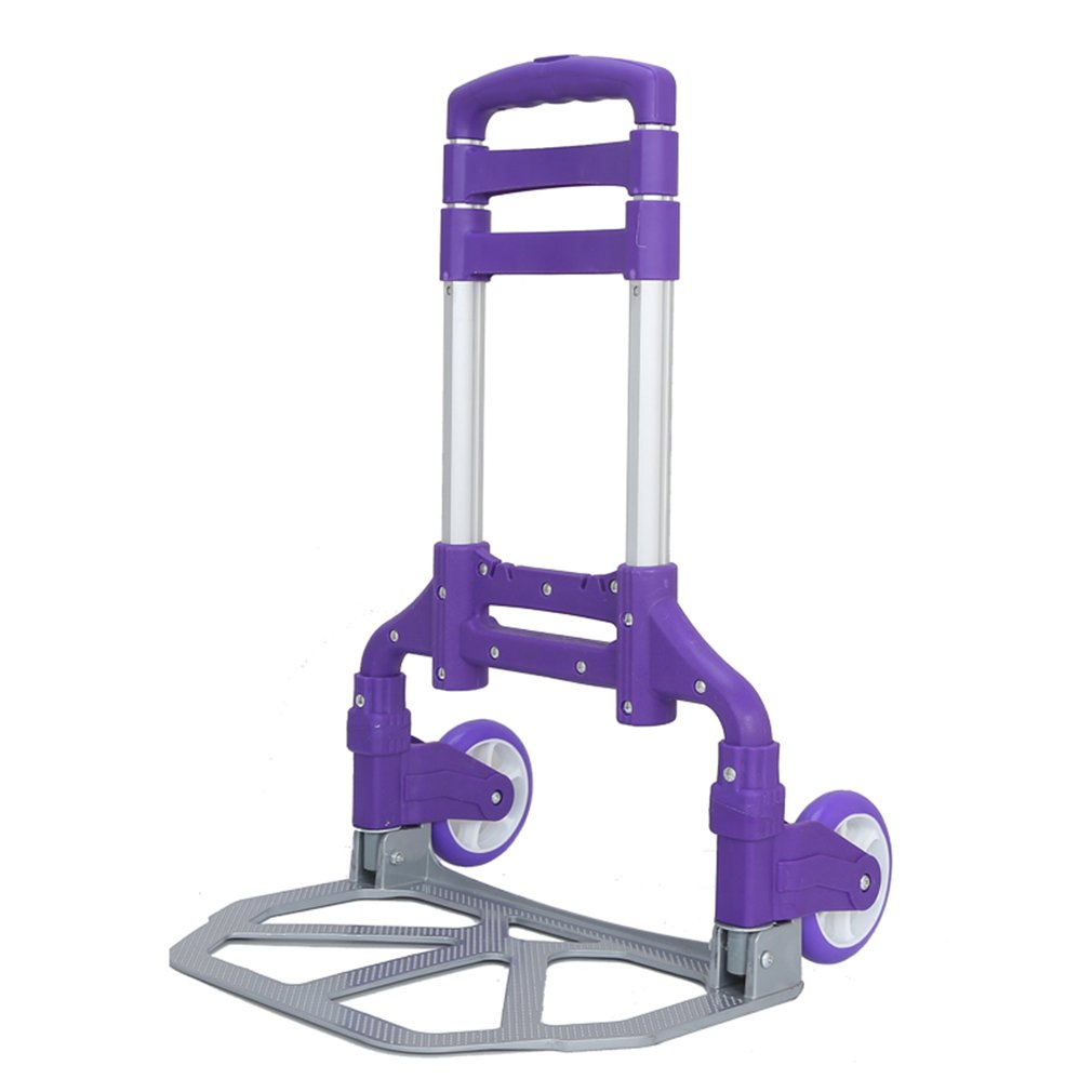 Belovedkai Hand Truck and Dolly up to 150 lb Capacity, Adjustable Aluminum Folding Hand Cart with PU Rubber Wheels (Purple)