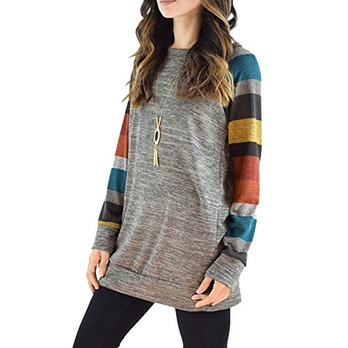 ICOCOPRO women's Crewneck Sweatshirt Long Sleeve Cotton Tunic Comfy Striped Tops-Gray Shirt/Multi-colored Sleeves