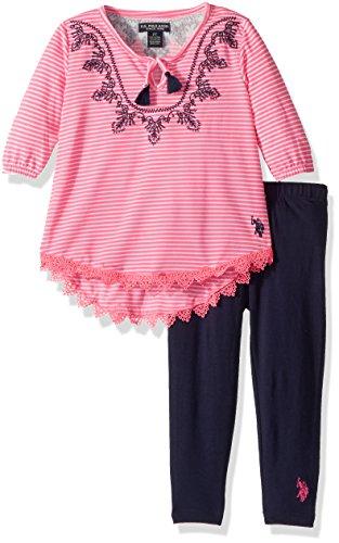 U.S. Polo Assn. Big Girls' Fashion Top and Legging Set, Embro Neck Peasant Top Lycra Jersey Legging Multi, 8 (Jersey Peasant Top Embroidered)