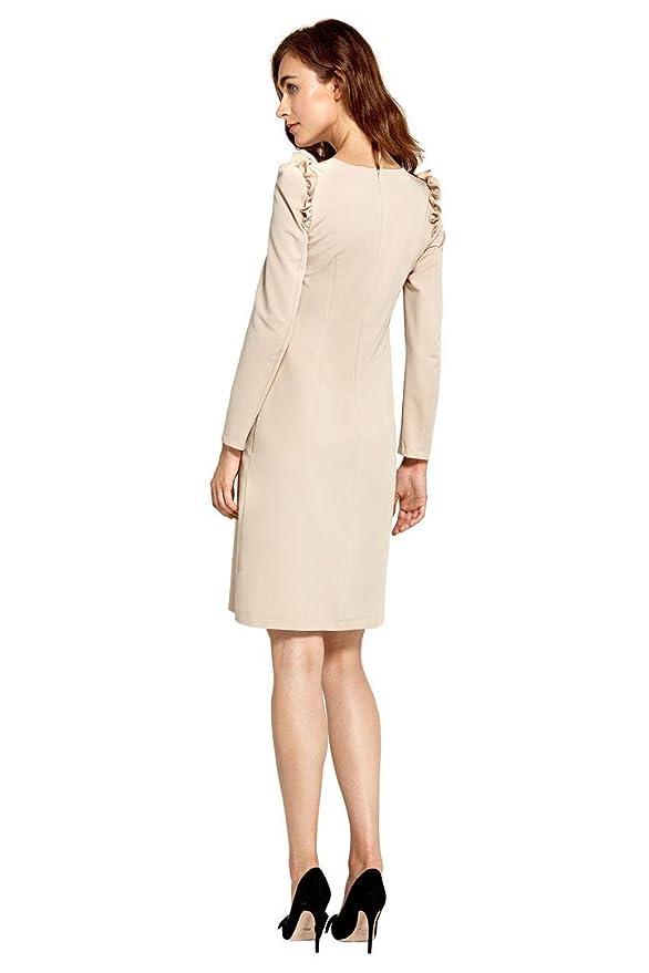 07f827fa2fbb98 VictoriaV nife - A-Linie Kleid mit Volants Langarm Etuikleid Cocktailkleid:  Amazon.de: Bekleidung