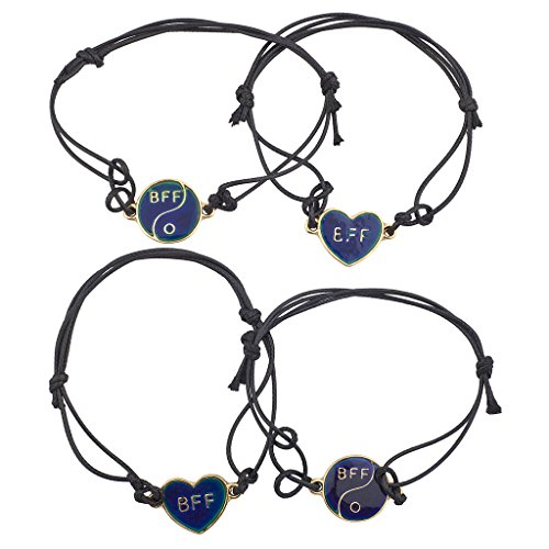 Lux Accessories Goldtone Best Friends BFF Jewelry Cord Bracelet Set (4PC)