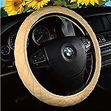 U&M Auto Steering Wheel Cover, Soft Velvet Feel Car Steering Wheel Cushion Protector Universal for 15 inch,Smooth Grip, Anti Slip & Odor Free