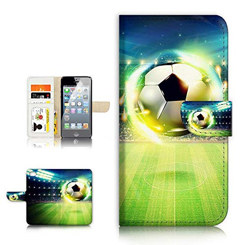 (for iPhone 8 Plus/iPhone 7 Plus) Flip Wallet Case Cover & Screen Protector Bundle - A21678 Soccer Football ()